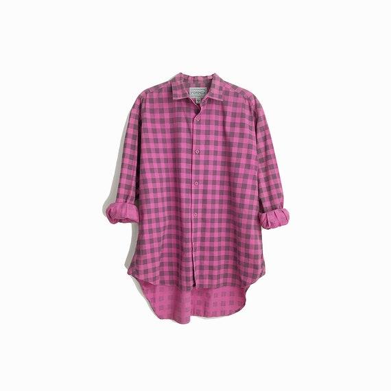 Vintage Boyfriend Shirt in Pink & Gray Plaid / Cotton Shirt - men's small
