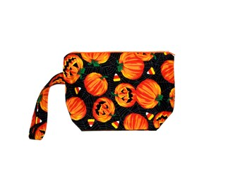 Halloween Cosmetic Bag, Wristlet, Small Make Up Carrier, Pretty Pouch, No Shipping Fee, Ready To Ship, TODAY, AGFT 830