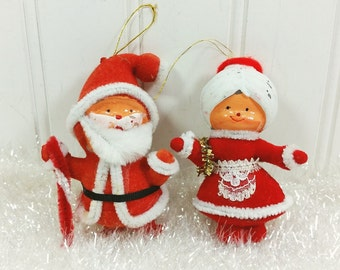 Santa and Mrs Claus Ornaments, Red Felt Santa Ornaments Made in Taiwan