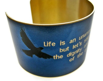 "Cuff bracelet ""Life is an unanswered question..."" TENNESSEE WILLIAMS brass Gifts for her"