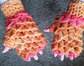 Crochet Feather Scale Fingerless Gloves