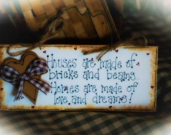 Houses Made Of HOMES Brick Country Welcome Door Sign Whimsical Decor New Home Gift