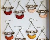 CELESTE- thread wrapped art deco earrings- fiber, crescent, loop, boho, statement, chain