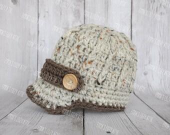 Newborn boy hat, baby boy hat, newsboy hat, newborn boy clothes, coming home outfit, paper boy hat, crochet baby hat, newborn photo prop