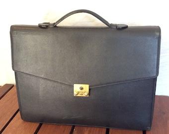 CHAUMET PARIS Authentic Gray Leather Satchel Portfolio Brief Briefcase Made in France
