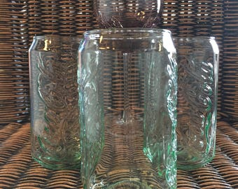 Vintage Coke Can shaped Coca Cola Green Clear Glass Glasses set of 3