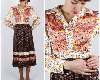 Vintage 1970s Eclectic Boho Printed Mixed Floral Shirt-Waist Midi Dress by Joan Leslie | Small