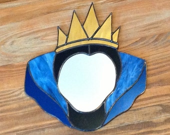 Stained Glass Mirror Mirror Queen in Blue