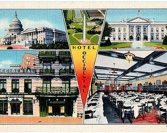 Vintage Washington DC Postcard - The Occidental Hotel and DC Landmarks (Unused)
