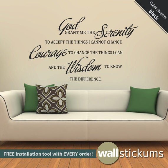 quotes for living room wall serenity prayer quote wall decal vinyl wall quote living room 18763