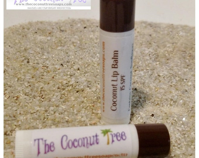 Coconut Flavored Lip Balm /All Natural Lip Balm // Coconut Oil / Shea Butter /  Cocoa Butter / SPF Lip Balm / No Animal by products
