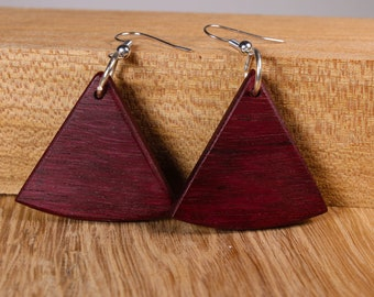 Amaranth wood triangular earrings
