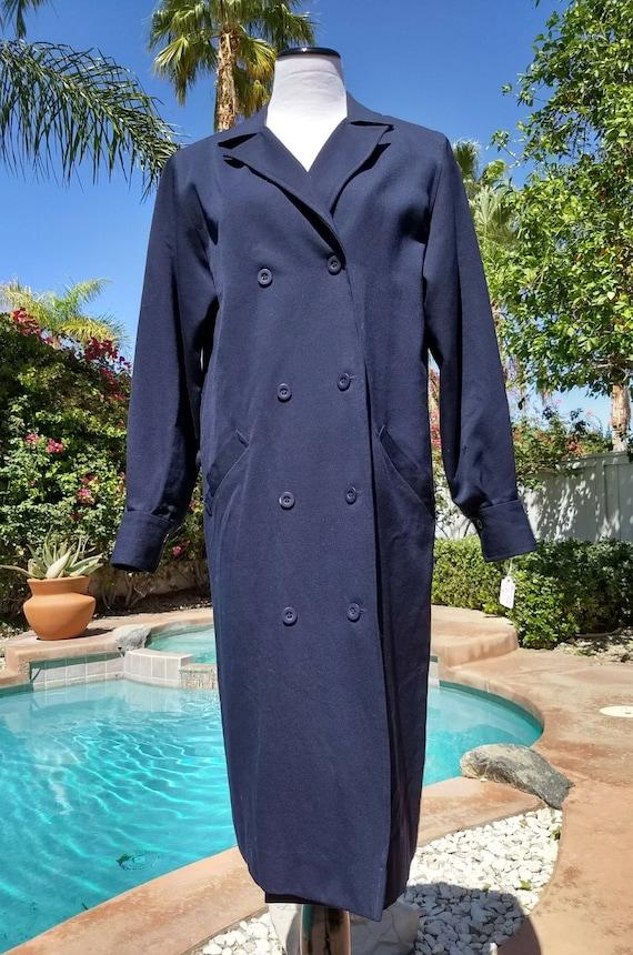 Vintage 80's Halston III Navy Blue Wool Coat,Size 8.