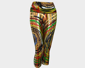 Circles Yoga Capris.  Easy Eyes. Totally wild. U will look very cool in these leggings. Very different.