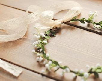 Baby's Breath w/ Leafy Greens Flower Crown | Hair Piece | Wedding | Cosplay | Plastic Baby's Breath | Made to Order Baby's Breath Crown