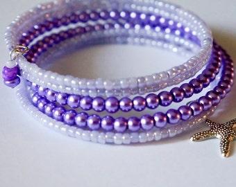 Purple Lilac Bracelet, Purple Spiral Wrap, Bohemian Lilac Cuff, Boho Wrap Bracelet Spiral Cuff Braclet Memory Wire Bracelet two tone cuff