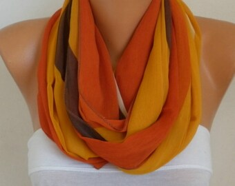 Mustard Infinity Chiffon Scarf,Mather's Gift, spring summer scarf,Circle Scarf Loop Scarf Gift Ideas For Her Women's Fashion Accessories
