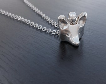 Fox Necklace, Sterling Silver Fox, Sterling Silver Necklace, Fox Head Necklace, Fox Jewelry