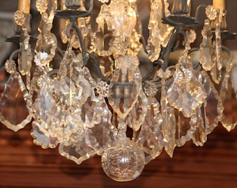 Crystal chandelier lighting French antique chandelier Large chandelier Patina bronze Luxury decor Crystal ceiling light Crystal pendants
