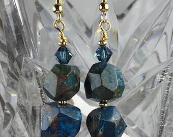 Dark Navy Boulder Opal Earrings