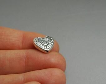 SET of 5 metal bead heart love ethnic (F48)