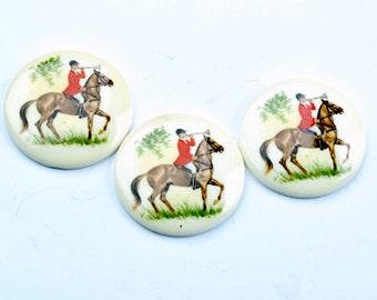 34mm Equestrian Horse Fox Hunt Cabochons, litho flat back acrylic, 3 each