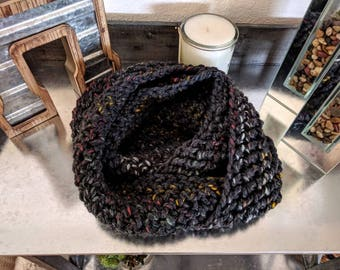 Women's infinity scarf; Women's scarf; Infinity scarf; Black infinity scarf; Black cowl; Handmade scarf; Oversized scarf; Black rainbow