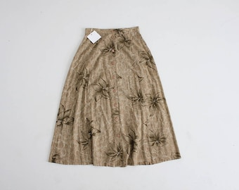 poinsettia print skirt | 90s floral skirt | brown floral skirt