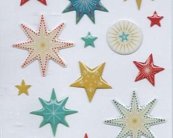 Santa Claus 3d stars Christmas scrapbooking stickers: 12.5 cm x 7.5 cm
