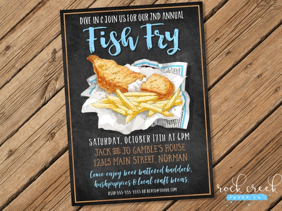 Fish Fry Invitation Chalkboard Fish Fry Fish Chips Party