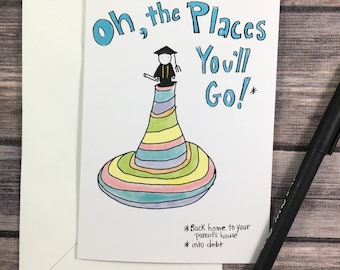 graduation card - funny grad card - college graduation - university grad card - sarcastic graduation card - funny congratulations
