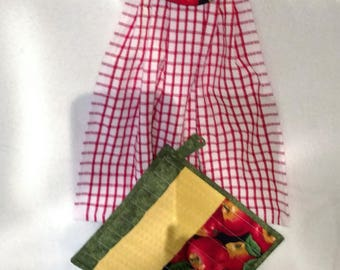 Apples and Red Checkered Dish Towel Set