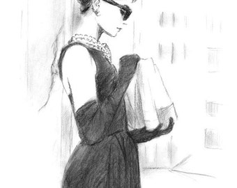 Audrey Hepburn Breakfast at Tiffany's - Charcoal Pencil Drawing - Black and White
