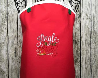 Christmas Hostess, Christmas Apron, Classy Apron, Cooking Apron, Holiday Style Apron, Gift for Mom, Christmas Full Apron, Hostess Apron