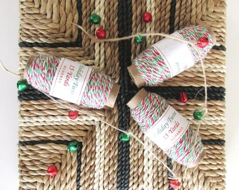 15 Yards of Holiday Twine - Green - Red - White - Christmas Twine