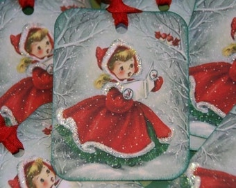 Vintage Christmas Tags,  A Sweet Caroler Gift  Tags, Holiday Tags, Christmas Gift Tags
