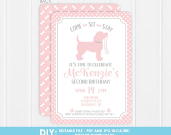 DIY Puppy Party Invitation -  Printable puppy party Invitation - Girl pink - Edit the file at home - Print or email however you want