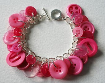 Sweet Treat Candy Pink Button Bracelet