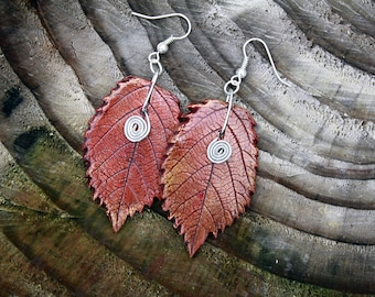 Red Autumn Leaves Earrings, Real rowan leaves Earrings, natural handmade Red gold Leaves earrings, Handmade Natural earings for her
