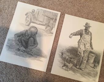 Pair of pencil art prints don greytak signed and numbered farm boy grandpa