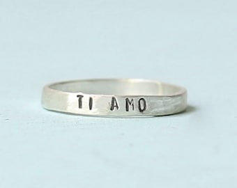 Ti Amo Stacking Ring, eco-friendly sterling silver or 14kt gold vermeil. Handcrafted by Chocolate and Steel
