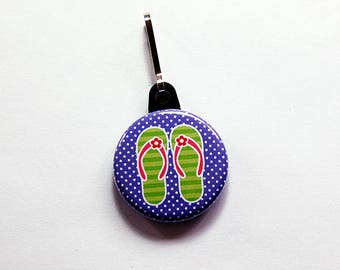 Flip Flop charm, Flip Flop Zipper Pull, zipper pull, purse charm, Purple, Green, Beach Bag Charm, Beach zipper pull, beach vacation (7523)