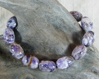 """Purple amethyst bracelet  7.5"""" long lobster clasp large rice beads semiprecious stone jewelry February birthstone in a gift bag 12238"""