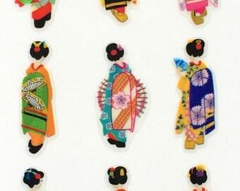 Japanese Stickers - Women In Kimonos Stickers - Traditional Japanese - Geisha Stickers  (S251)