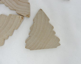"Wooden tree cutout, 2 1/4"" Christmas tree unfinished DIY, wood tree cutout, set of 6"