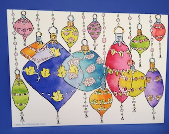 Floral Ornaments Holiday Greeting Card, by Michelle Kogan, Christmas, Art and Collectibles, Watercolor, Painting, Blank card, Children's Art
