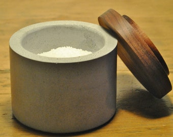 Concrete Salt Cellar / Sugar Bowl with Black Walnut Lid / Salt Box / Salt Pinch Bowl / Salt Pig / Sugar Dish / Chef Gift / Kitchen Gift Idea