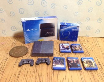 Dolls house handmade miniature Ps4 bundle - console + box, 2 controllers, headset and 5 games 1/12 scale
