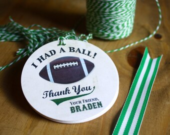 Football Gift Tags, Personalized Party Favor Tag, Sports Birthday, Tailgate Party, Custom Label, Football Thank You Tag, Printed, Name, Age