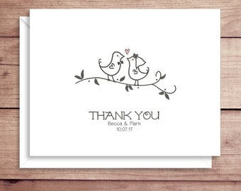 Love Birds Note Cards - Bridal Folded Note Cards - Bridal Stationery - Bridal Shower Thank You Notes - Wedding Note Cards